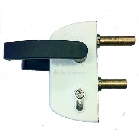 Serrure portail LOCINOX LC40 PVC BLANC pour tube carré de 40