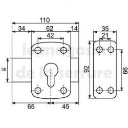 Verrou pour cylindre européen pêne 110 mm
