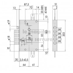 Serrure CISA 57515/48 gorges axe 63 mm