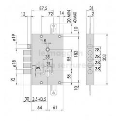 Serrure CISA 56515/48 cyl axe 63 mm