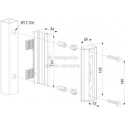 Gache butée BRUT profil carré pour serrure LOCINOX
