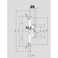 387923 RA2000 F20 Espagnolette centrale 20 ROTO